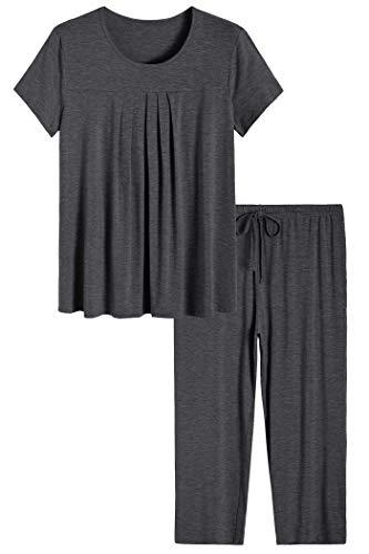 Latuza Women's Pajamas Pleated Loungewear Top and Capris Pjs Set L Dark - Pleated Knit Top