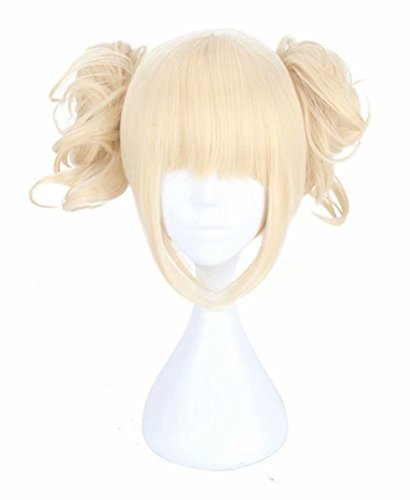 COSPLAZA Cosplay Wigs Short Light Blonde Base Wig with 2 Buns Girl Anime Cosplay Costume Wigs