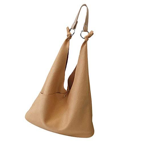 CactusAngui Bolso de Hombro de Las Mujeres de Cuero de imitación de la Moda Color sólido Gran Capacidad Casual Tote Brown