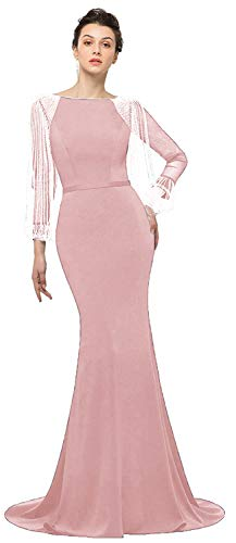(OkayBridal Women's Mermaid Evening Dresses Long Sleeves Blush Pink Spandex Crystal Beaded Long Formal Party Prom Gown Size 10)