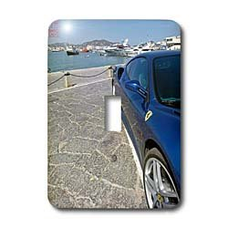 3dRose LLC lsp_107559_1 Blue Ferrari 430 Monza Parked in The Port of Ibiza, Spain Single Toggle Switch by 3dRose