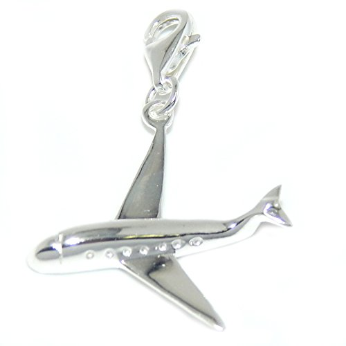 ilver Dangling Clip-on Airplane Charm Pendant ()