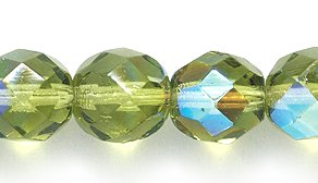 Preciosa Czech Fire 8mm Polished Glass Bead, Faceted Round, Peridot/Olive Aurora Borealis, - 100 Czech Faceted Beads Glass