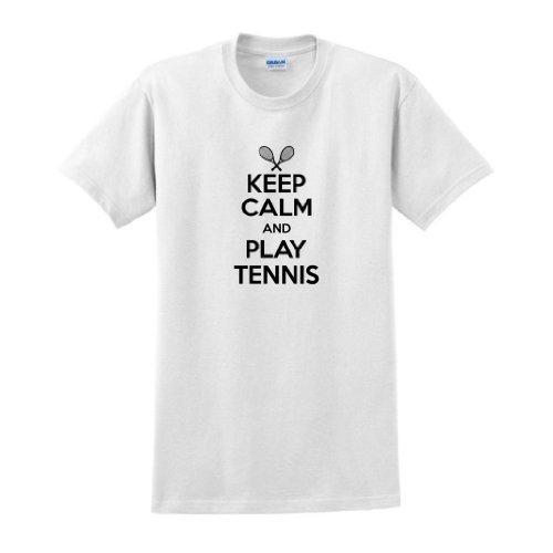 Keep Calm and Play Tennis T-Shirt Medium White