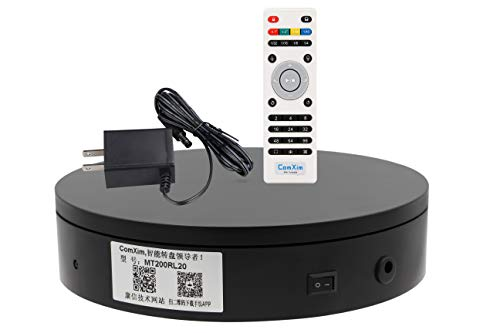 - ComXim 360 Degree Black Electric Turntable,Direction, Angle and Rotation Mode,7.87in Diameter,44lb Capacity,Product Photography, Product,Cake and Jewelry Display,