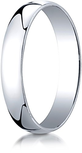 Benchmark 14K White Gold 4mm Low Dome Light Wedding Band Ring , Size 7.25