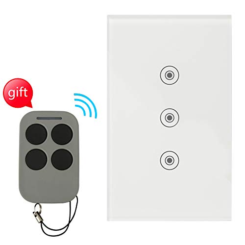 Light Touch Switch with Tempered Glass Panel, RF Wireless Remote Control, 100' RF Range, No Interference, US Standard Modern Wall Switch, No Hub Required (White,Replace 3 Switches in 1 Gang Wall Box)