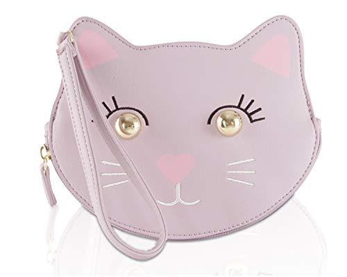 Luv Betsey Johnson LBKIIT Zippered Cat Clutch Wristlet Coin Purse Pouch - Lavender Kitsch Cat