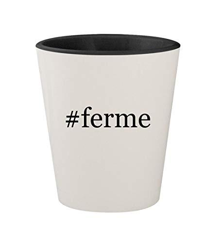 #ferme - Ceramic Hashtag White Outer & Black Inner 1.5oz Shot Glass