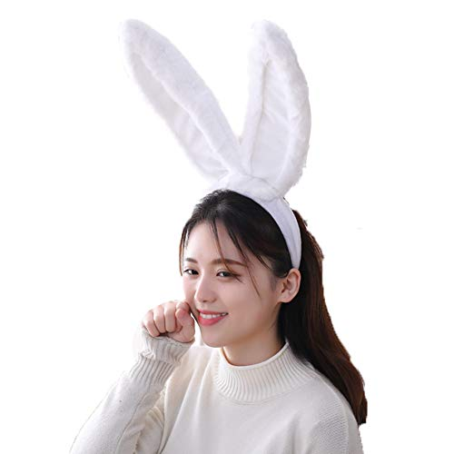 BOBILIKE Bunny Rabbit Ear Headband Cosplay Party Costume Fits Adults & Children, White -