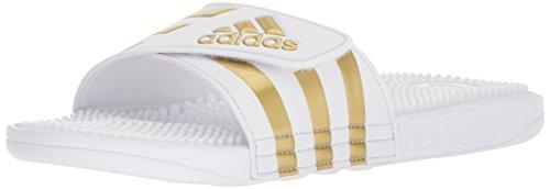 adidas Performance Men's Adissage Sport Sandal, Ftwr White, Gold Met, Ftwr White, 9 M US