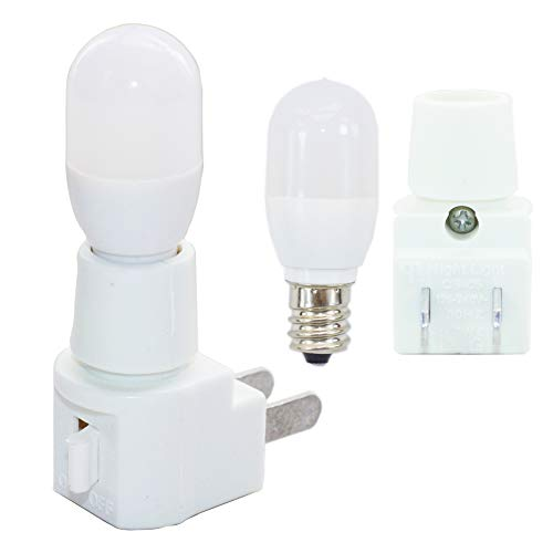 (C7 LED Bulb, E12 Candelabra Base Night Light Bulb Lighthouse Lighting, 10Watt Equivalent(1W), 120V White 6000K Mini Bulb for Refrigerator, Halloween, Wall Lamp, Candle Lights,with Wall Plug (2-Sets))