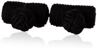 Cuff-Daddy Classic Black Silk Knot Log Cufflinks with Velour Pouch