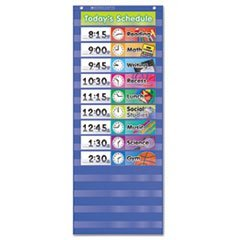 ** Daily Schedule Pocket Chart, 13 x 33, Blue/Clear by 4COU