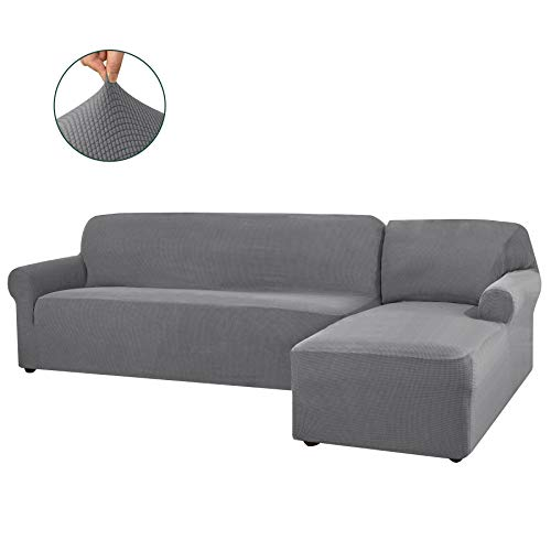CHUN YI 2 Pieces L-Shaped Right Chaise Jacquard Polyester Stretch Fabric Sectional Sofa Slipcovers Dust-Proof L Shape Corner 2 Seats Sofa Cover Set for Living Room (Light Gray)
