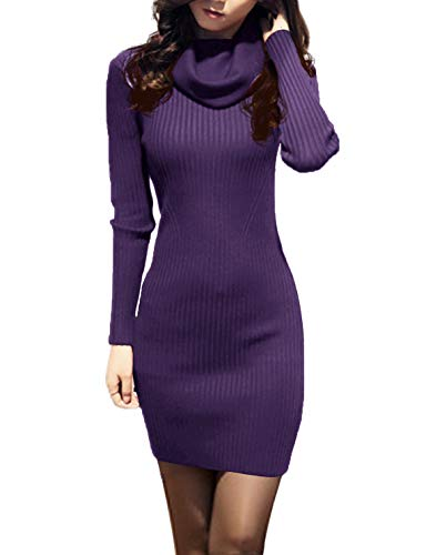 - v28 Women Cowl Neck Knit Stretchable Elasticity Long Sleeve Slim Fit Sweater Dress (2-8,Purple)