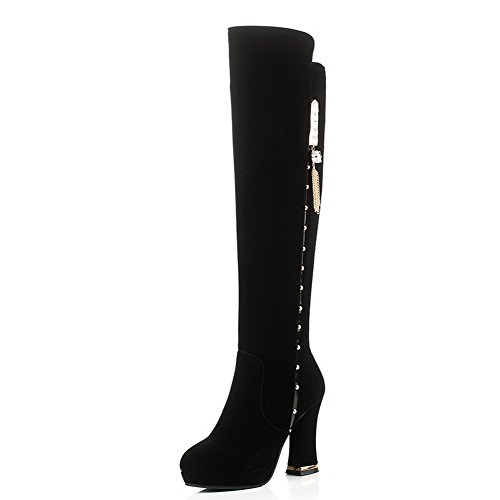 AmoonyFashion Women's Round-Toe Closed-Toe High-Heels Frosted Solid Above-The-Knee Boots, Black, 38