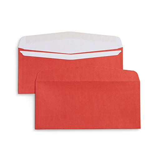 (Blue Summit Supplies #10 Red Christmas Envelopes, Gummed Seal, Designed for Holiday Mail, Christmas Letters, and Bonus Checks, 4 1/8 x 9 ½'', Pack of 100 Red Colored Envelopes)