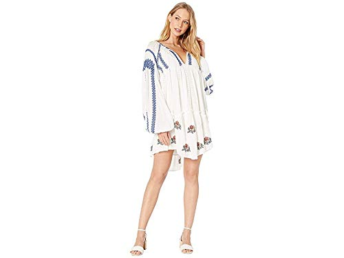 - Free People Women's Wild Horses Mini Dress, Ivory, White, Print, Large