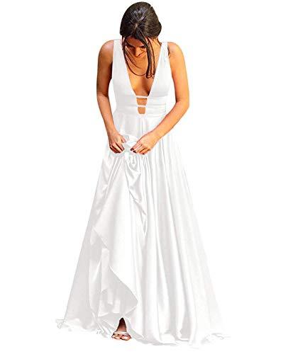 (Wdbridal Beach V Neck Wedding Dresses for Bride 2019 Long Formal Party Ball Gowns White Size)