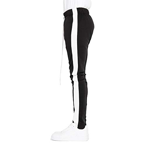 Men's Made in USA Track Hipster Pants with Stretch Fabric and Drawstring (Small, Black/White)