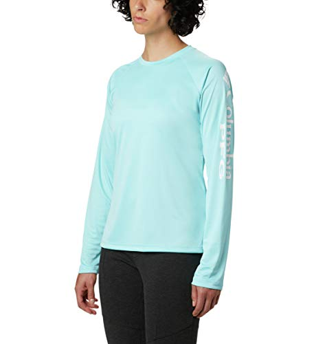 (Columbia Women's PFG Tidal Tee II Long Sleeve Shirt , Clear Blue/White Logo, Medium)