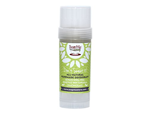 Don't Sweat It All Natural Lemongrass Deodorant Stick for Women, Men and Kids (Organic, Vegan, Cruelty Free) Contains No Gluten, Aluminum Or Parabens, Best 3.2 Oz Stow-and-Go Container ()