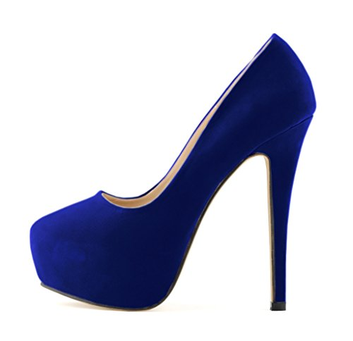 Women's Fashion Round Toe Stiletto Slip On Platform Pumps High Heels Shoes Blue Velveteen 7 US M