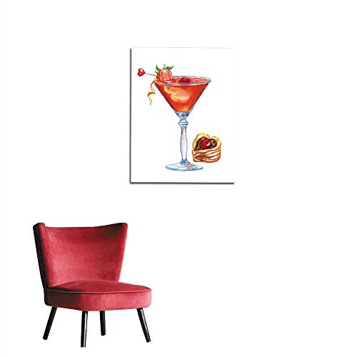 longbuyer Art Decor Decals Stickers Cocktail with Strawberries and a Puff Pastry Mural 32