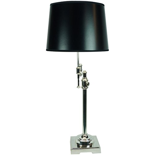 Swing Arm Table Lamp by Laura Ashley - State Street Shiny Silver with 14 inch black hardback drum shade with gold lining - Swing arm and adjustable height lamp for versatility - 121410DRBPTST221