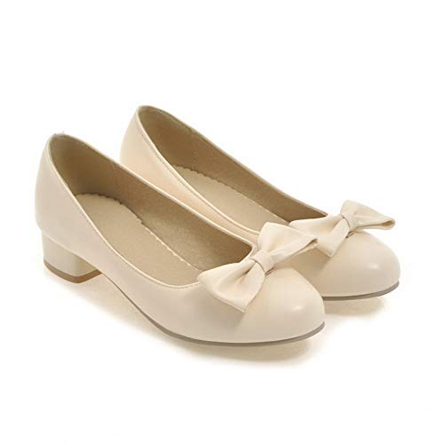 BalaMasa Urethane Womens Beige Pumps Shoes Bows APL10395 Travel Solid rqrwZaI