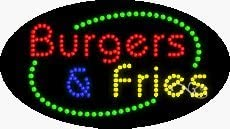 Made in USA 15 x 27 x 1 inches Burgers /& Fries LED Sign