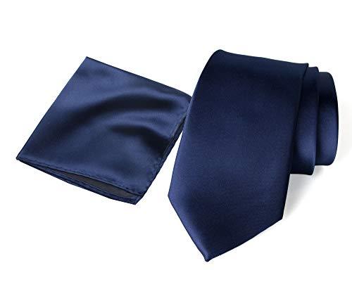 - Spring Notion Men's Solid Color Satin Microfiber Regular Tie and Hankerchief Set Navy