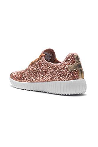 Herstyle Frauen Moniqie Glitter flache Ferse, Glitzer Details, vorne schnüren sich oben, Mode Sneaker Roségold