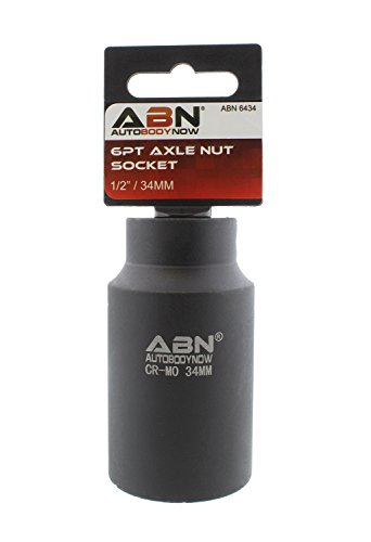 ABN Axle Nut Socket, 34mm, 1/2 Inch Drive, 6 Point - Universal for All Vehicle 6pt Installation, Removal, Repair