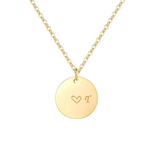 Gold Initial Pendant Necklaces,14K Gold Filled Engraved Disc Personalized Name Dainty Handmade Cute Heart Initial T Tiny Pendant Necklaces Jewelry Gift for Women