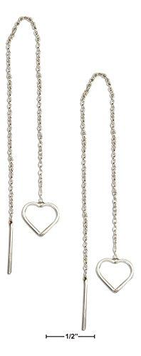 Sterling Silver Outline Heart Ear Thread Earrings