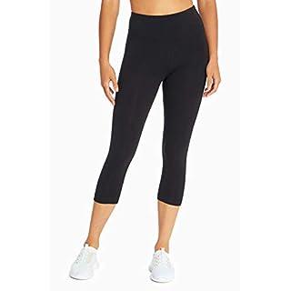 Bally Total Fitness Mid Rise Tummy Control Capri Legging, Black, Small