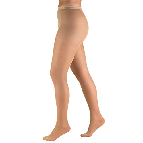Truform Women's 15-20 mmHg Sheer Compression Pantyhose, Beige, Medium
