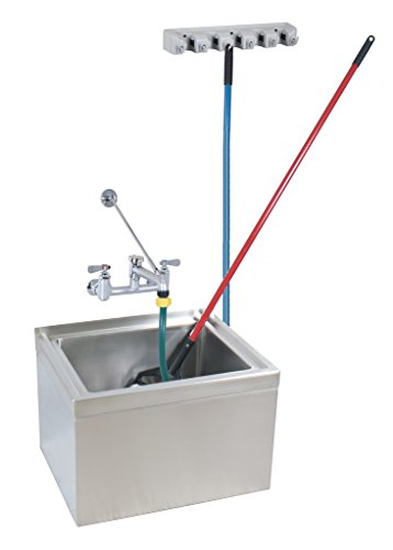 BK Resources BKMS-1620-12-KIT Stainless Steel Floor Mount Mop Sink, Bowl Measures 20