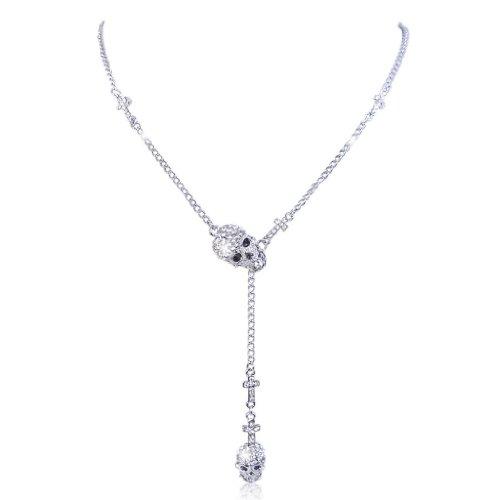 EVER FAITH Silver-Tone 2 Skull Cross Clear Austrian Crystal Necklace (Clear Austrian Crystal Cross)