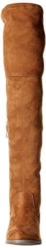Premier Standard Damenmode Bequeme Vegane Wildleder Blockabsatz Seitlicher Reißverschluss Zurück Spitze Oberschenkel Hohe Overknee Stiefel Tan Su