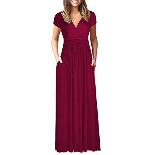 Women Short Sleeve Dress Loose Solid Plain Maxi Dress Casual Long Party Dress with Pockets Split Summer Dress