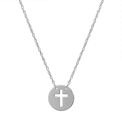 Amanda Rose 14k White Gold Cross Disc Necklace on an Adjustable 16-18 in. Chain ()