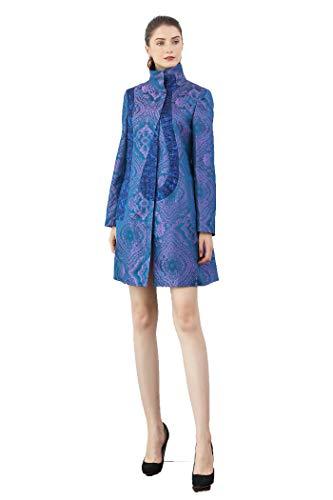 VOA Silk Jacquard Purple Trench Coat Women Elegant Windbreaker Retro Overcoat Autumn Palto Vintage Ladies Vestiti Casaco F331