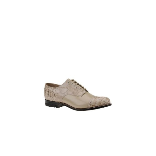 Stacy Adams Mens Madison Croco Oxford 14 2e Noi Taupe-coccodrillo