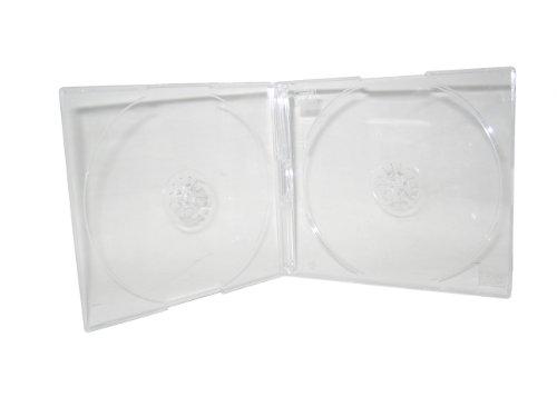 SLIM DOUBLE CD JEWEL CASE W/ 2 SUPER CLEAR TRAYS, 5.2MM, 100 PCS, BL115 (Slim Case Jewel Super)