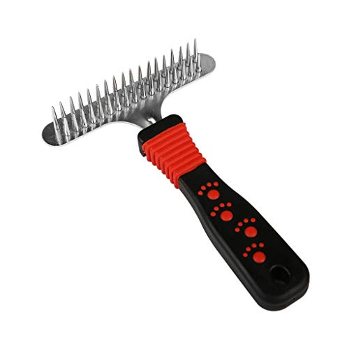 Follicle Drops Release - YESKY Dog rake - Stainless Steel Deshedding and Dematting Undercoat Rake - for Dogs, Cats - Double Row of Teeth - Reduce Shedding by 90%