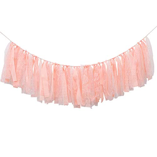 FCLANDING Ribbon Banner Party Decoration Banner for 1st Birthday of Girls- First Birthday Decorations for Photo Booth Props, Dreamy Pink Lace INS style Birthday Souvenir and Gifts, Best Party Supplies -
