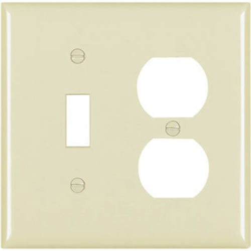 Seymour Ivory Toggle Wall Plate - Pass & Seymour SP18IU 2 Gang 1 Toggle Opening and 1 Duplex Outlet Opening Urea Wall Plate, Ivory